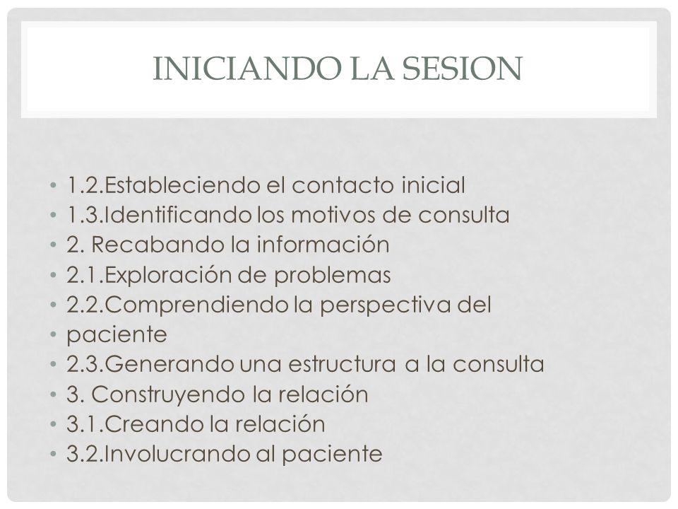 INICIANDO LA SESION 1.2.Estableciendo el contacto inicial 1.3.Identificando los motivos de consulta 2. Recabando la información 2.1.Exploración de pro
