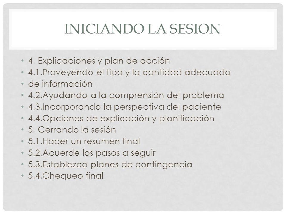INICIANDO LA SESION 4. Explicaciones y plan de acción 4.1.Proveyendo el tipo y la cantidad adecuada de información 4.2.Ayudando a la comprensión del p