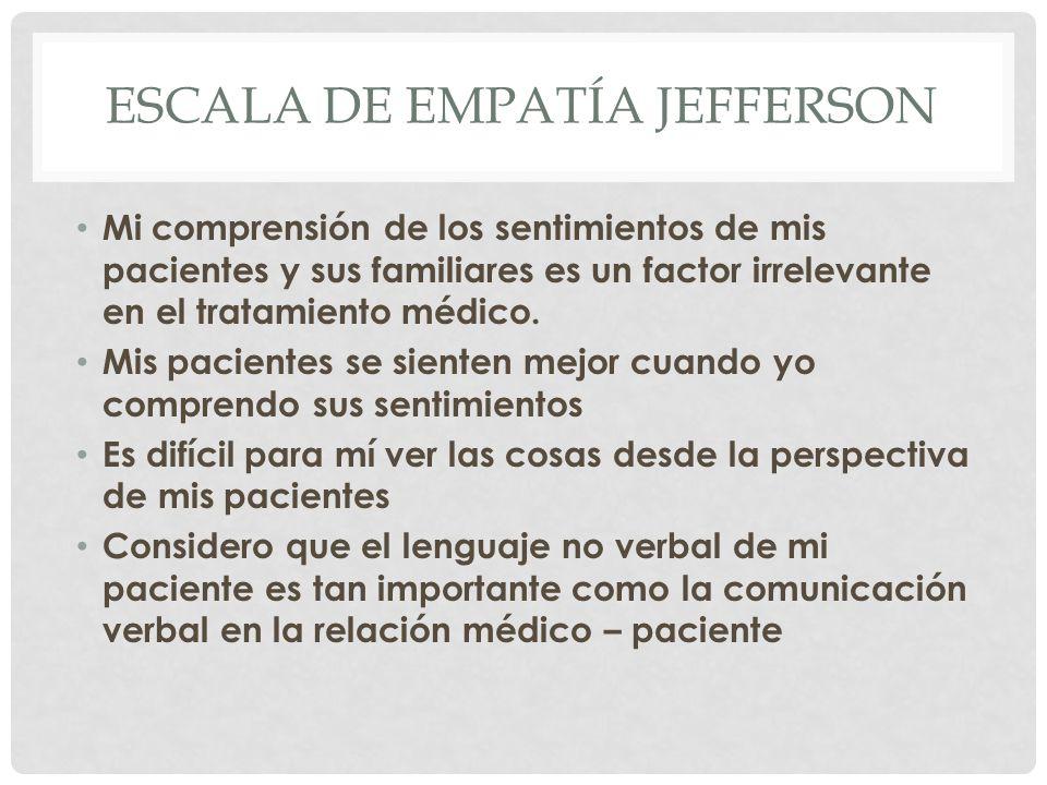 ESCALA DE EMPATÍA JEFFERSON Mi comprensión de los sentimientos de mis pacientes y sus familiares es un factor irrelevante en el tratamiento médico. Mi