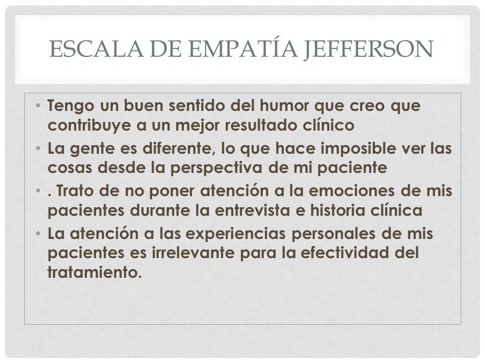 ESCALA DE EMPATÍA JEFFERSON Tengo un buen sentido del humor que creo que contribuye a un mejor resultado clínico La gente es diferente, lo que hace im