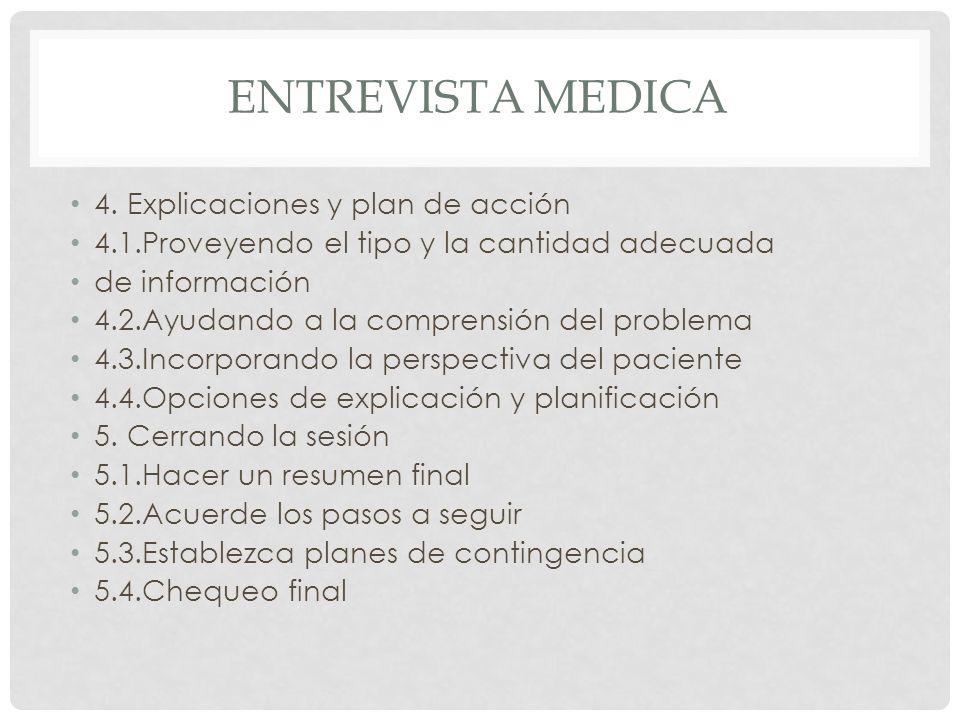 ENTREVISTA MEDICA 4. Explicaciones y plan de acción 4.1.Proveyendo el tipo y la cantidad adecuada de información 4.2.Ayudando a la comprensión del pro