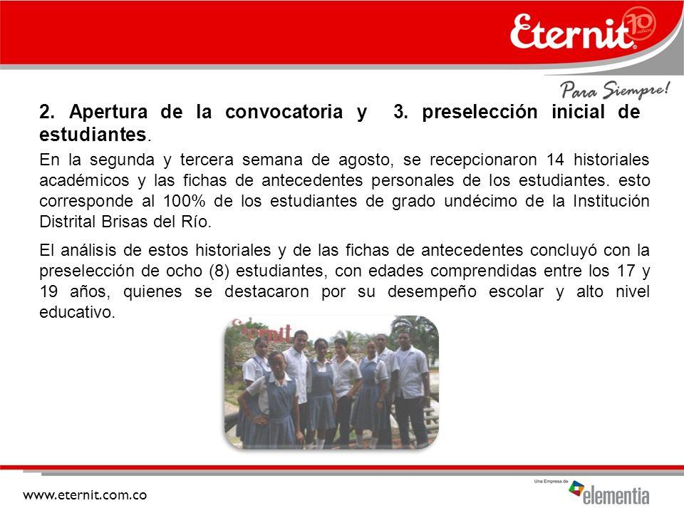 www.eternit.com.co 2.Apertura de la convocatoria y 3.