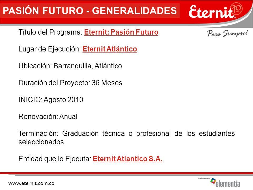www.eternit.com.co PASIÓN FUTURO - UBICACIÓN Sector marginal ubicado en el centro de la ciudad de BARRANQUILLA, muy cercano a la Sociedad Portuaria de la ciudad, que comunica con las poblaciones del río magdalena, cerca a la zona industrial de la vía 40 y frente a la zona comercial de San Andresito.