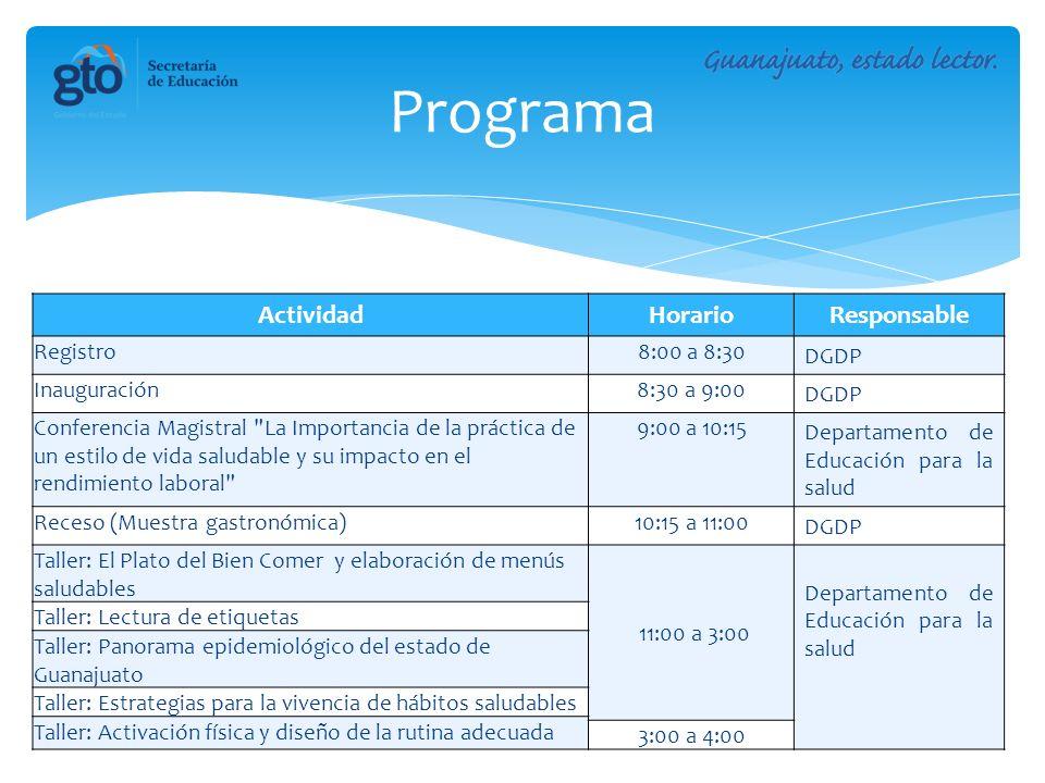 ActividadHorarioResponsable Registro8:00 a 8:30 DGDP Inauguración8:30 a 9:00 DGDP Conferencia Magistral