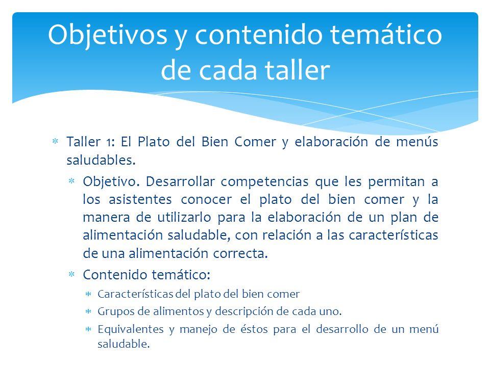 Taller 1: El Plato del Bien Comer y elaboración de menús saludables. Objetivo. Desarrollar competencias que les permitan a los asistentes conocer el p