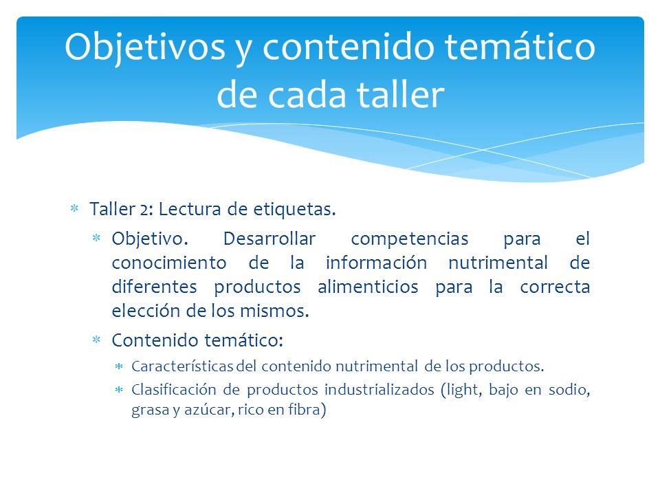 Taller 2: Lectura de etiquetas. Objetivo. Desarrollar competencias para el conocimiento de la información nutrimental de diferentes productos alimenti