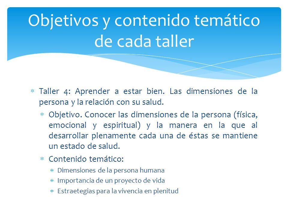 Taller 4: Aprender a estar bien. Las dimensiones de la persona y la relación con su salud. Objetivo. Conocer las dimensiones de la persona (física, em
