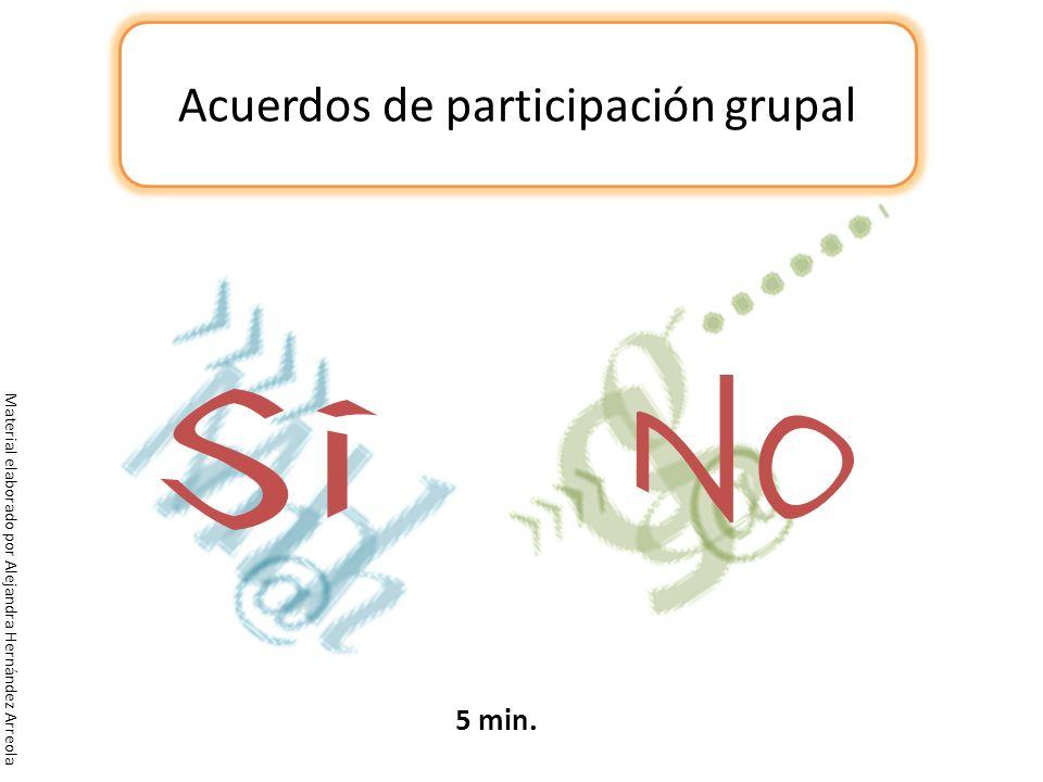Acuerdos de participación grupal 5 min. Material elaborado por Alejandra Hernández Arreola