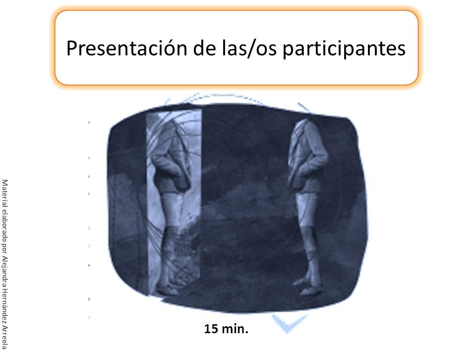Presentación de las/os participantes 15 min.