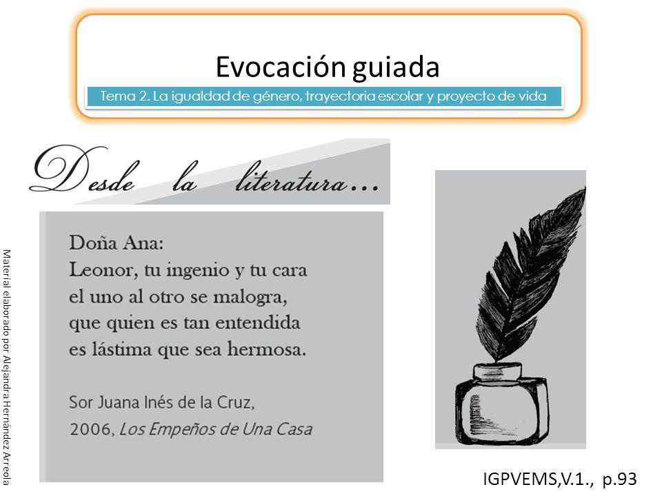 Material elaborado por Alejandra Hernández Arreola Evocación guiada 30 min. Tema 2. La igualdad de género, trayectoria escolar y proyecto de vida IGPV