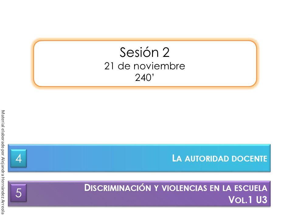 Sesión 2 21 de noviembre 240 D ISCRIMINACIÓN Y VIOLENCIAS EN LA ESCUELA V OL.1 U3 D ISCRIMINACIÓN Y VIOLENCIAS EN LA ESCUELA V OL.1 U3 5 5 Material el