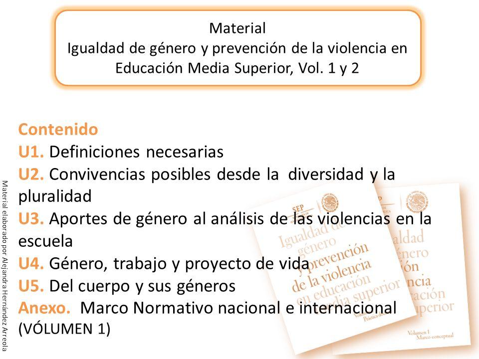 Material Igualdad de género y prevención de la violencia en Educación Media Superior, Vol. 1 y 2 Contenido U1. Definiciones necesarias U2. Convivencia