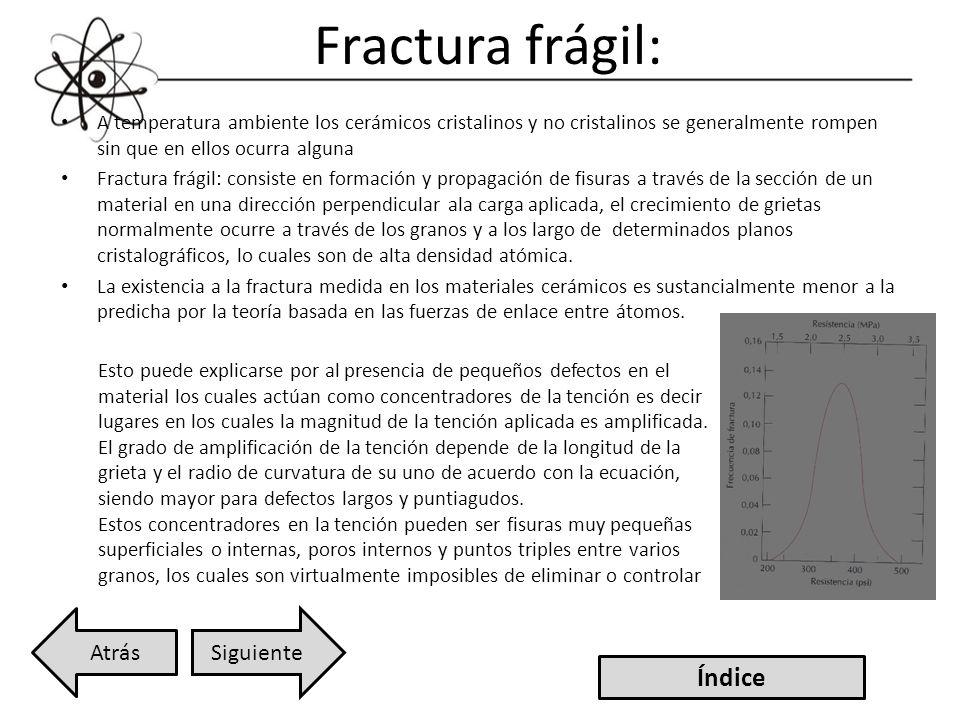 Fractura frágil: A temperatura ambiente los cerámicos cristalinos y no cristalinos se generalmente rompen sin que en ellos ocurra alguna Fractura frág