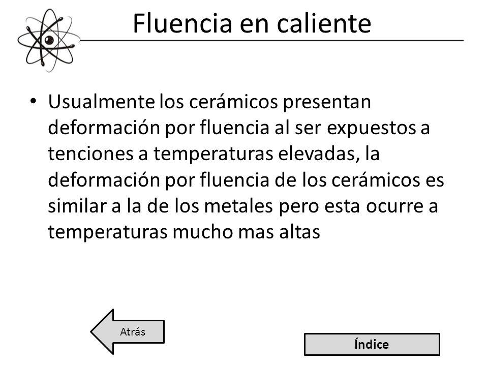 Fluencia en caliente Usualmente los cerámicos presentan deformación por fluencia al ser expuestos a tenciones a temperaturas elevadas, la deformación