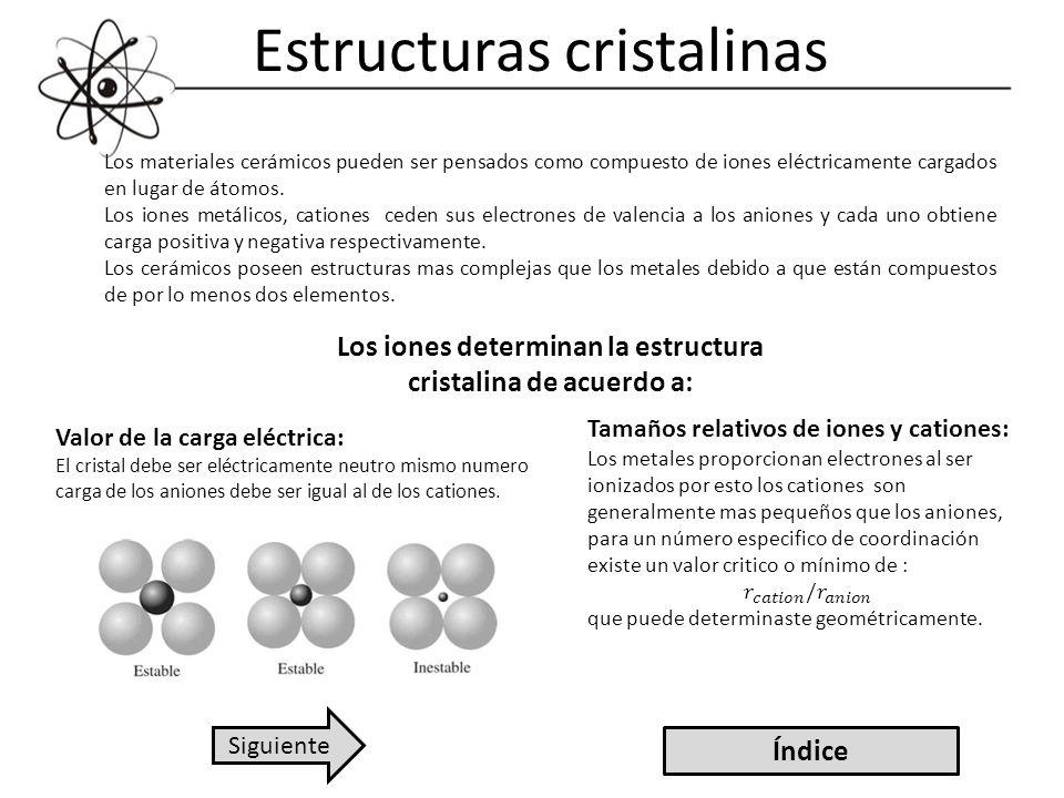 Estructuras cristalinas Los materiales cerámicos pueden ser pensados como compuesto de iones eléctricamente cargados en lugar de átomos. Los iones met