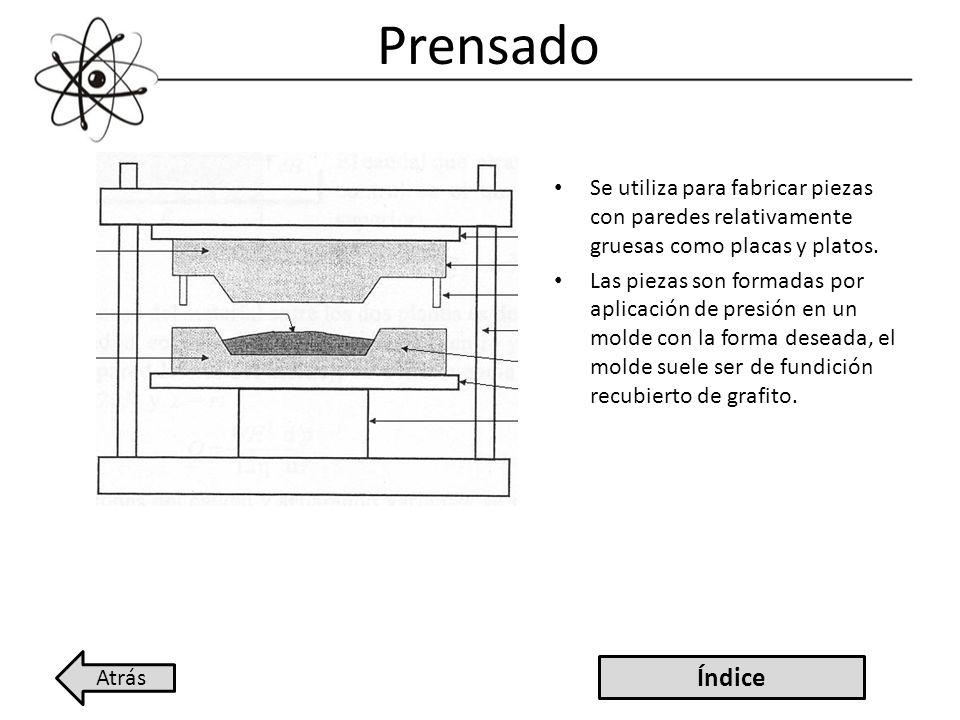 Prensado Se utiliza para fabricar piezas con paredes relativamente gruesas como placas y platos. Las piezas son formadas por aplicación de presión en