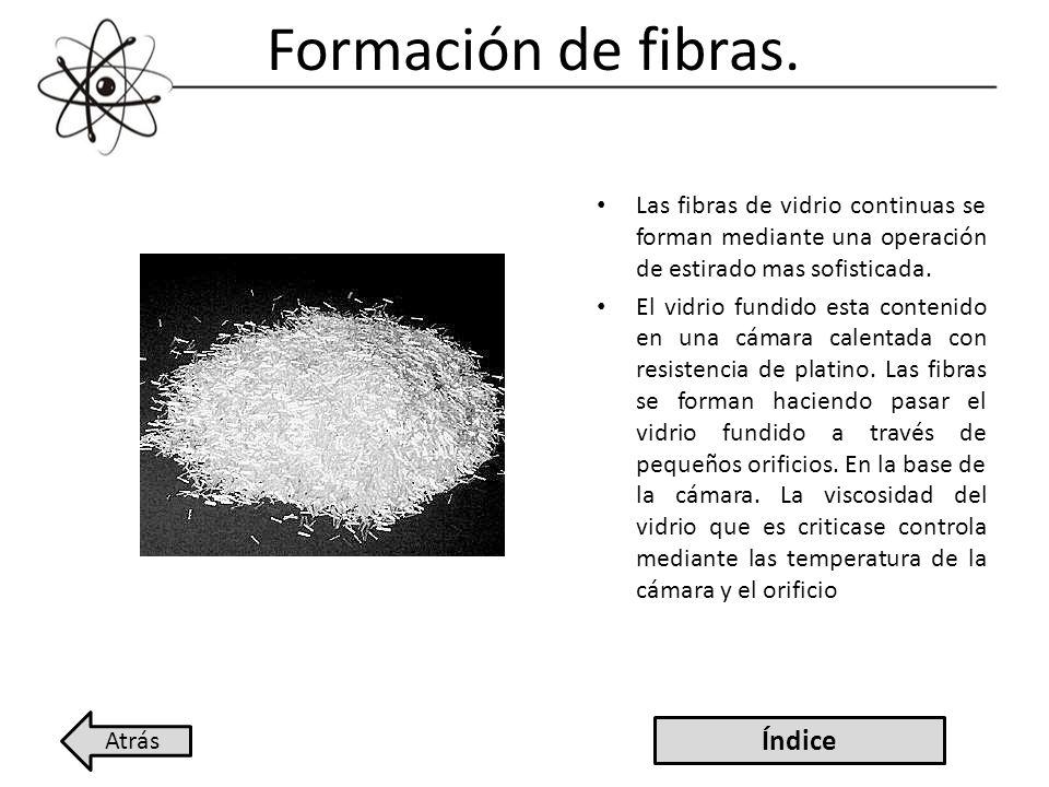 Formación de fibras. Las fibras de vidrio continuas se forman mediante una operación de estirado mas sofisticada. El vidrio fundido esta contenido en