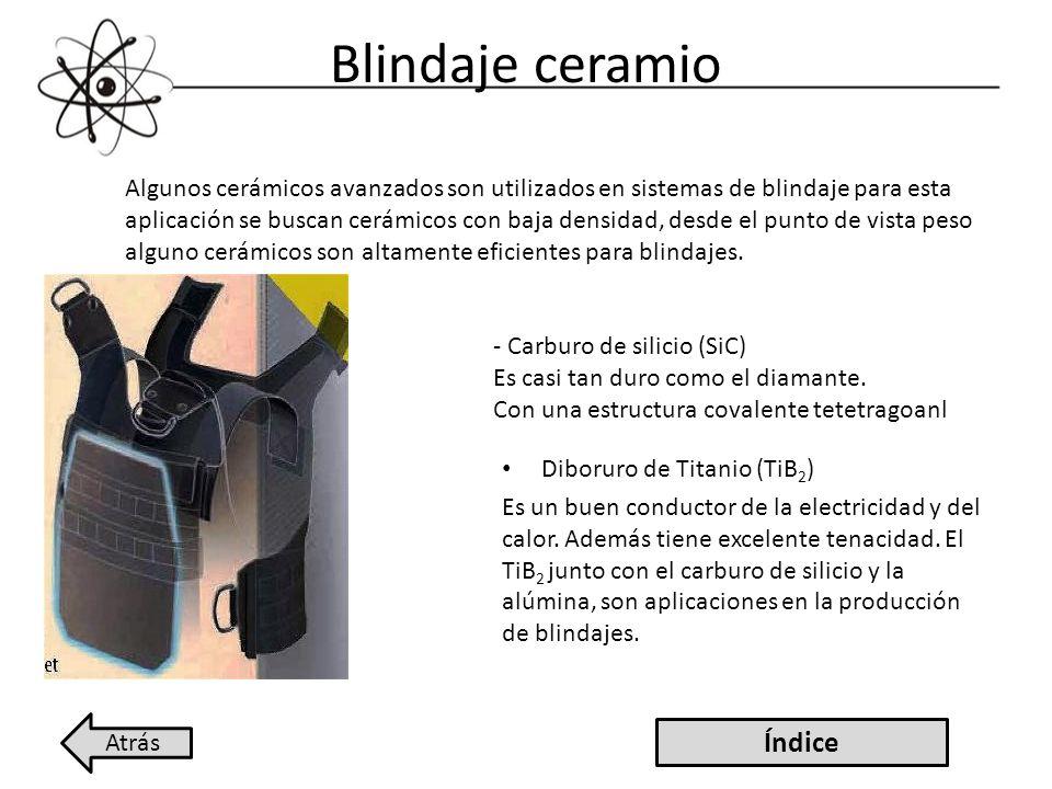 Blindaje ceramio Diboruro de Titanio (TiB 2 ) Es un buen conductor de la electricidad y del calor. Además tiene excelente tenacidad. El TiB 2 junto co