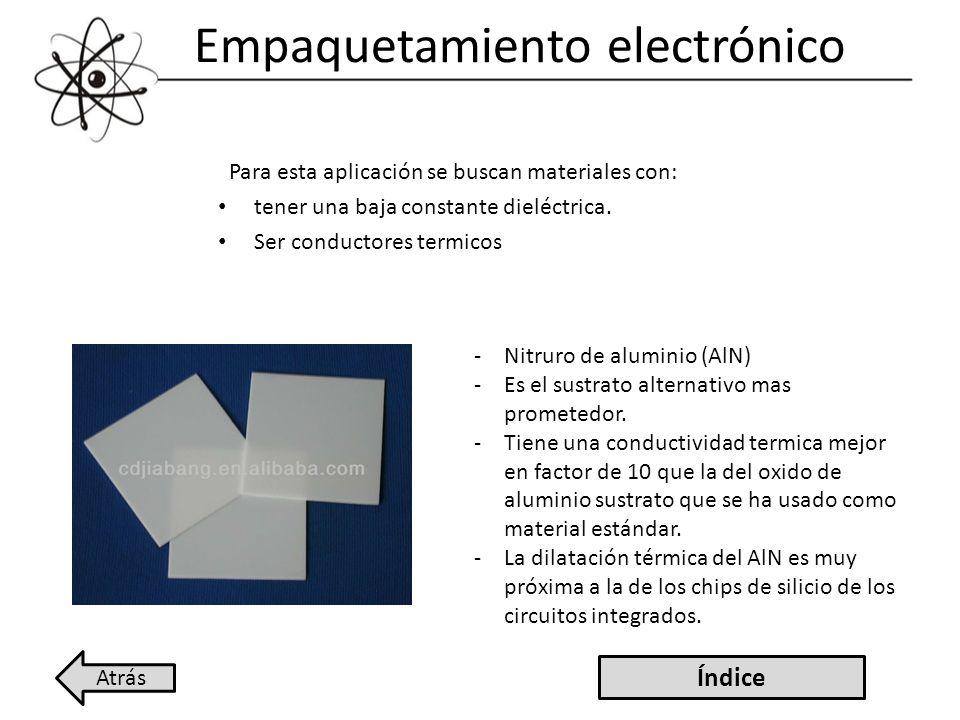 Empaquetamiento electrónico Para esta aplicación se buscan materiales con: tener una baja constante dieléctrica. Ser conductores termicos -Nitruro de
