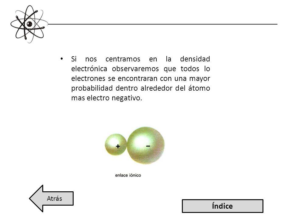 Si nos centramos en la densidad electrónica observaremos que todos lo electrones se encontraran con una mayor probabilidad dentro alrededor del átomo