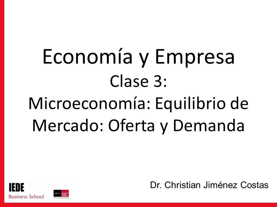 Economía y Empresa Clase 3: Microeconomía: Equilibrio de Mercado: Oferta y Demanda Dr. Christian Jiménez Costas