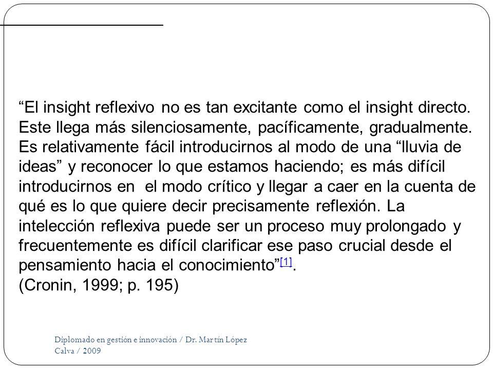 Diplomado en gestión e innovación / Dr. Martín López Calva / 2009 El insight reflexivo no es tan excitante como el insight directo. Este llega más sil