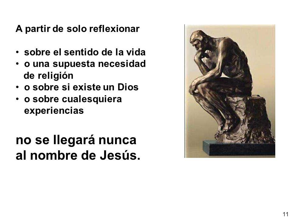 11 A partir de solo reflexionar sobre el sentido de la vida o una supuesta necesidad de religión o sobre si existe un Dios o sobre cualesquiera experiencias no se llegará nunca al nombre de Jesús.