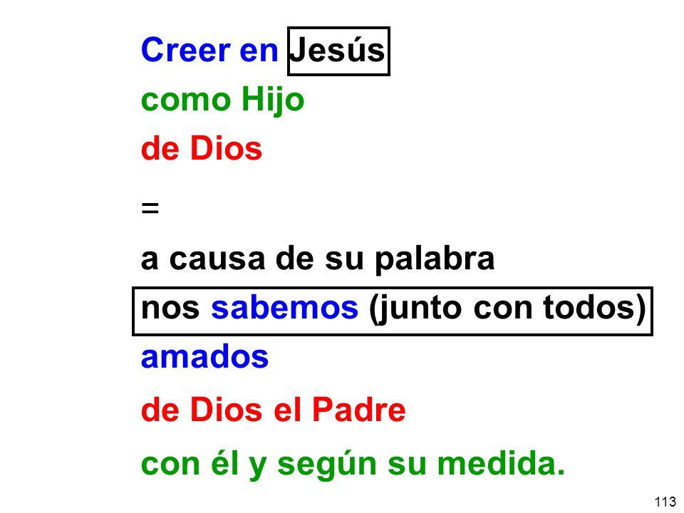 113 Creer en Jesús como Hijo de Dios = a causa de su palabra nos sabemos (junto con todos) amados de Dios el Padre con él y según su medida.