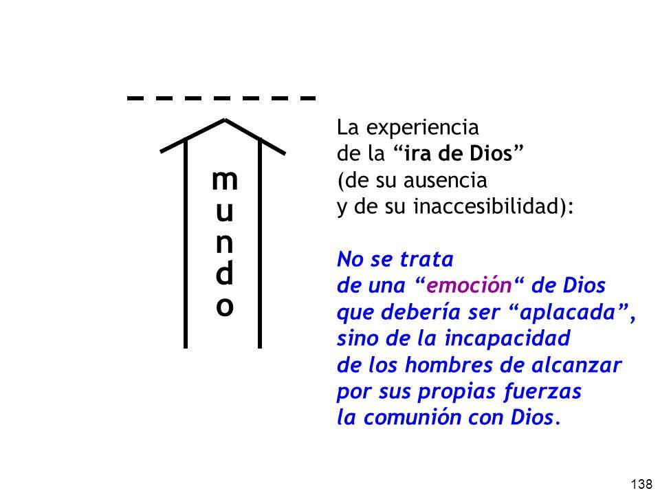 138 La experiencia de la ira de Dios (de su ausencia y de su inaccesibilidad): No se trata de una emoción de Dios que debería ser aplacada, sino de la