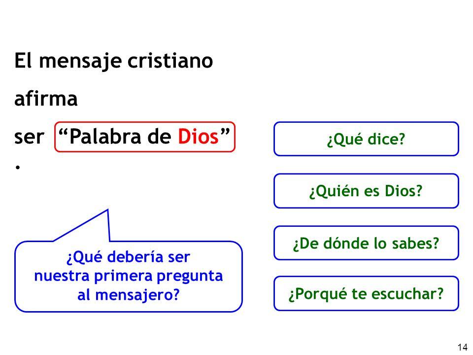 14 El mensaje cristiano afirma ser Palabra de Dios. ¿Qué debería ser nuestra primera pregunta al mensajero? ¿Qué dice? ¿Quién es Dios? ¿Porqué te escu