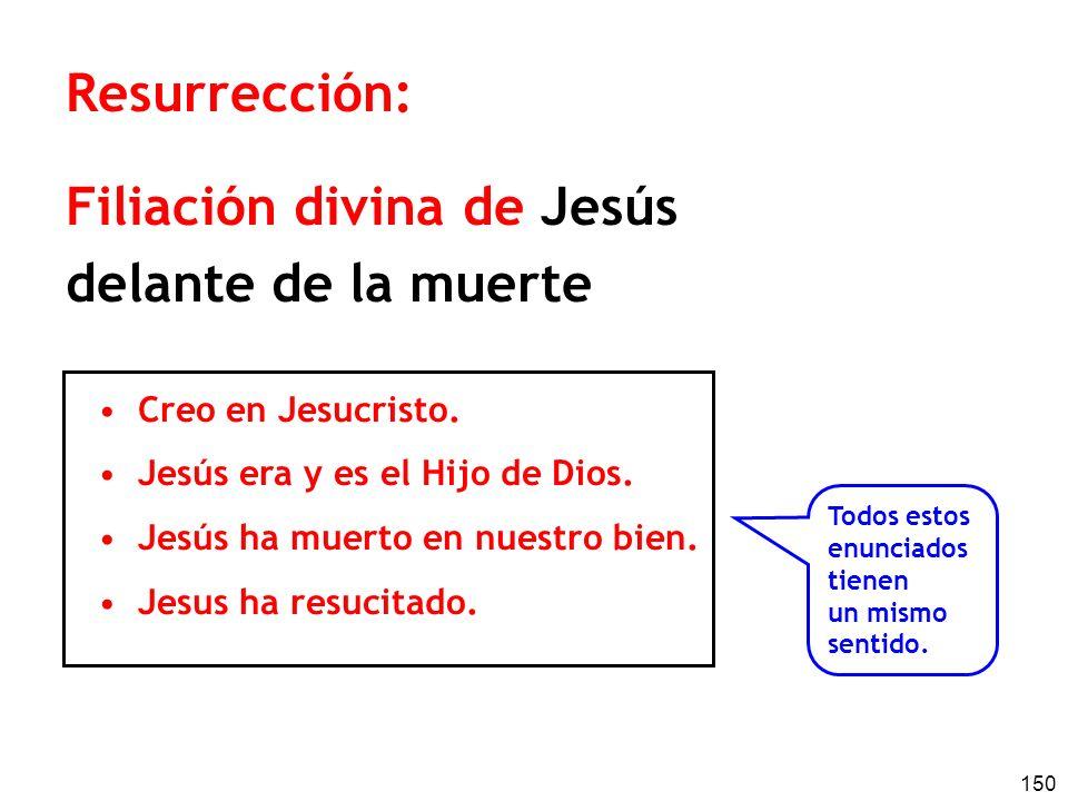 150 Resurrección: Filiación divina de Jesús delante de la muerte Creo en Jesucristo. Jesús era y es el Hijo de Dios. Jesús ha muerto en nuestro bien.
