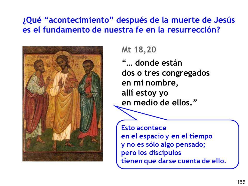 155 ¿Qué acontecimiento después de la muerte de Jesús es el fundamento de nuestra fe en la resurrección? Mt 18,20 … donde están dos o tres congregados