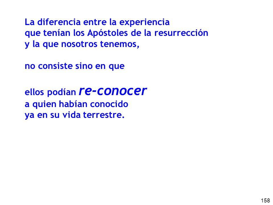 158 La diferencia entre la experiencia que tenían los Apóstoles de la resurrección y la que nosotros tenemos, no consiste sino en que ellos podían re-