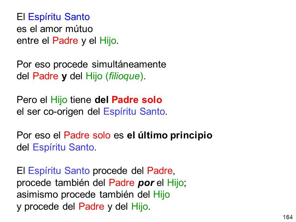 164 El Espíritu Santo es el amor mútuo entre el Padre y el Hijo.
