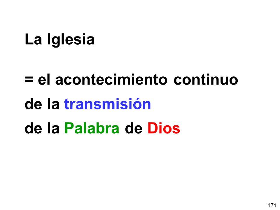 171 La Iglesia = el acontecimiento continuo de la transmisión de la Palabra de Dios