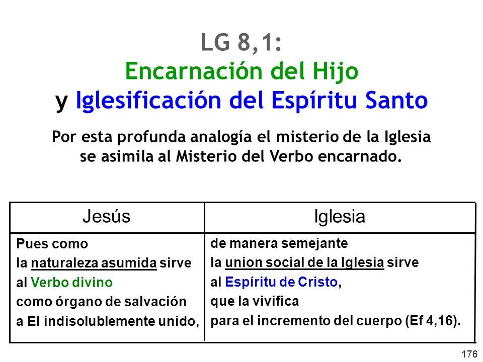 176 LG 8,1: Encarnación del Hijo y Iglesificación del Espíritu Santo Por esta profunda analogía el misterio de la Iglesia se asimila al Misterio del Verbo encarnado.