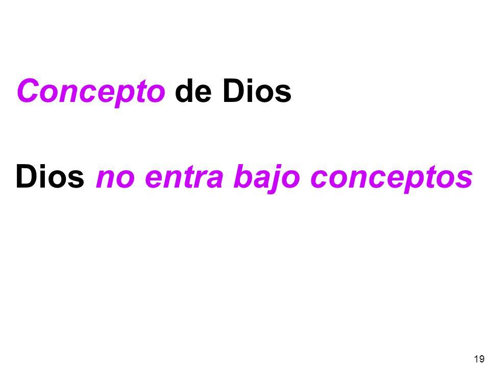 19 Concepto de Dios Dios no entra bajo conceptos