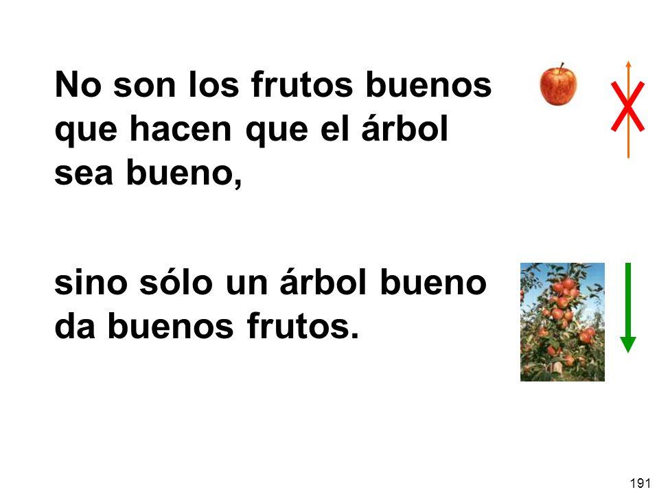 191 No son los frutos buenos que hacen que el árbol sea bueno, sino sólo un árbol bueno da buenos frutos.