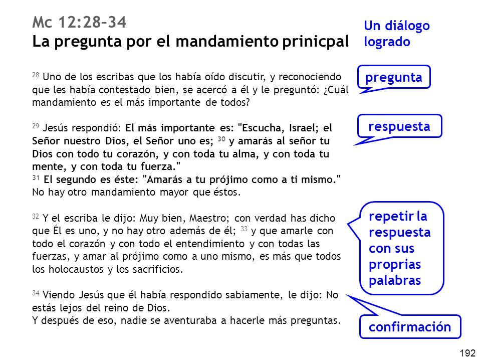 192 Mc 12:28–34 La pregunta por el mandamiento prinicpal 28 Uno de los escribas que los había oído discutir, y reconociendo que les había contestado bien, se acercó a él y le preguntó: ¿Cuál mandamiento es el más importante de todos.