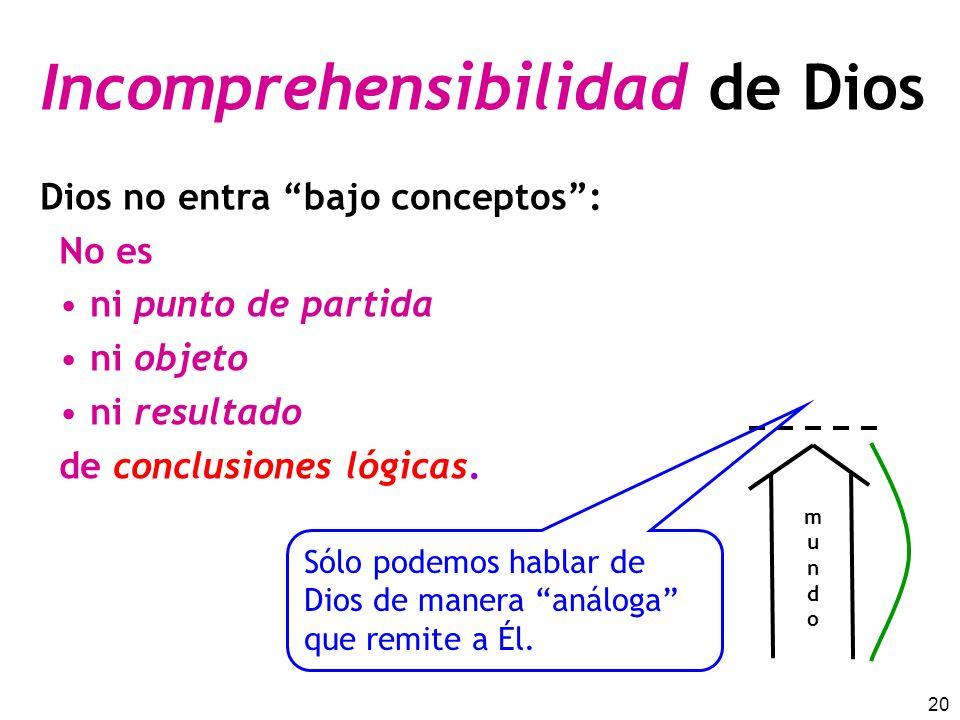 20 Incomprehensibilidad de Dios Dios no entra bajo conceptos: No es ni punto de partida ni objeto ni resultado de conclusiones lógicas.