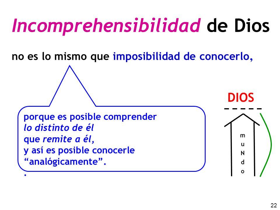22 Incomprehensibilidad de Dios no es lo mismo que imposibilidad de conocerlo. porque es posible comprender lo distinto de él que remite a él, y así e