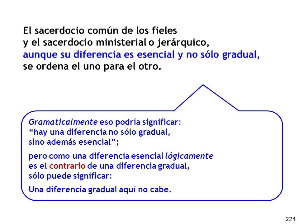 224 El sacerdocio común de los fieles y el sacerdocio ministerial o jerárquico, aunque su diferencia es esencial y no sólo gradual, se ordena el uno p