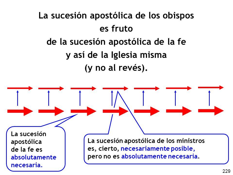 229 La sucesión apostólica de los ministros es, cierto, necesariamente posible, pero no es absolutamente necesaria. La sucesión apostólica de los obis