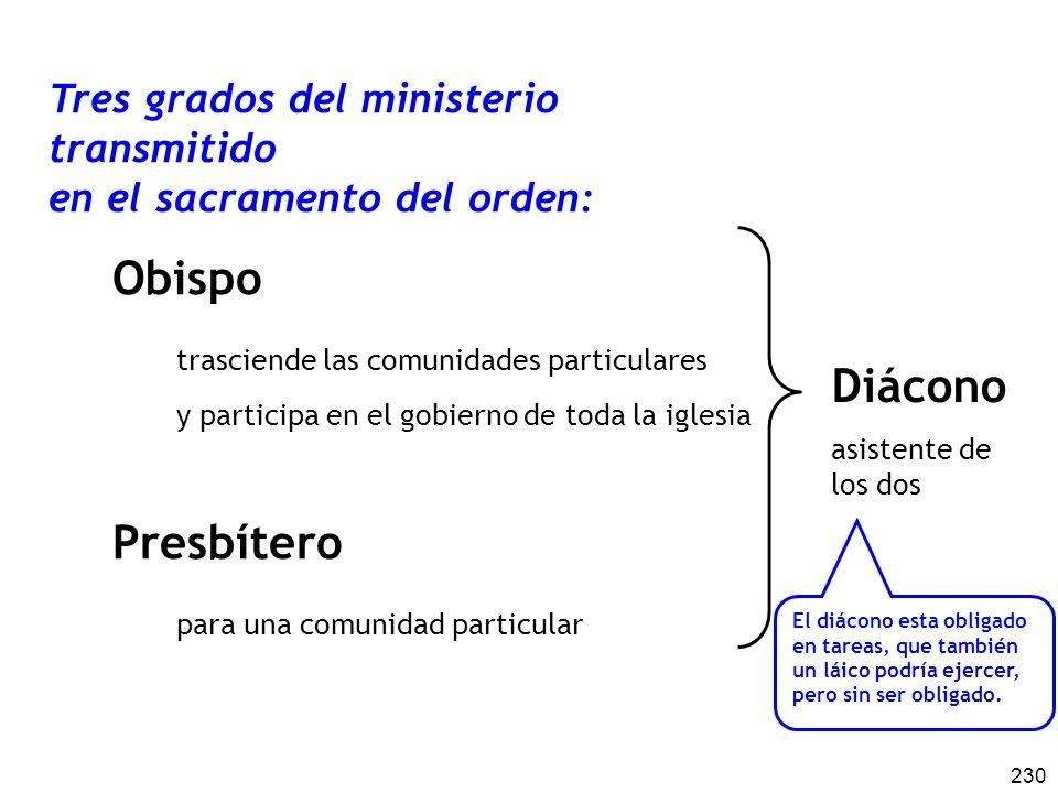 230 Tres grados del ministerio transmitido en el sacramento del orden: Obispo trasciende las comunidades particulares y participa en el gobierno de to