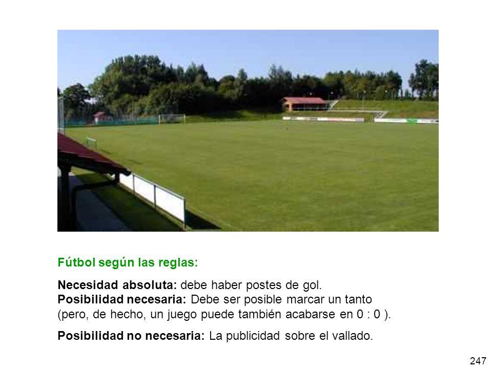 247 Fútbol según las reglas: Necesidad absoluta: debe haber postes de gol. Posibilidad necesaria: Debe ser posible marcar un tanto (pero, de hecho, un