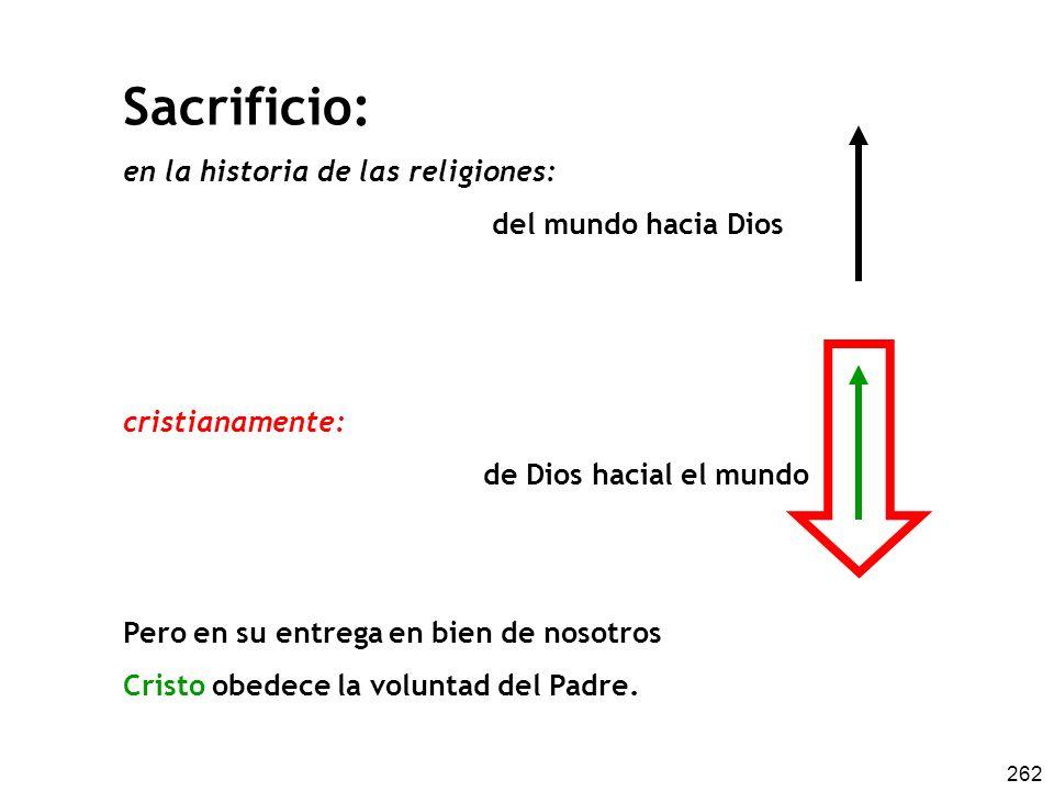 262 Sacrificio: en la historia de las religiones: del mundo hacia Dios cristianamente: de Dios hacial el mundo Pero en su entrega en bien de nosotros Cristo obedece la voluntad del Padre.