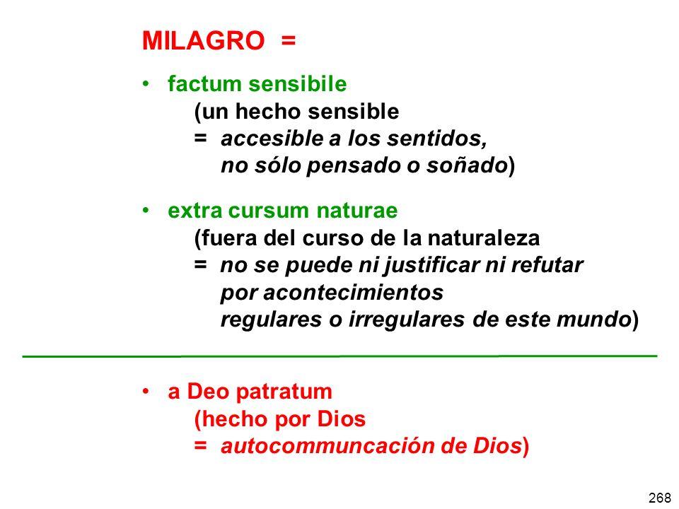268 MILAGRO = factum sensibile (un hecho sensible = accesible a los sentidos, no sólo pensado o soñado) extra cursum naturae (fuera del curso de la na
