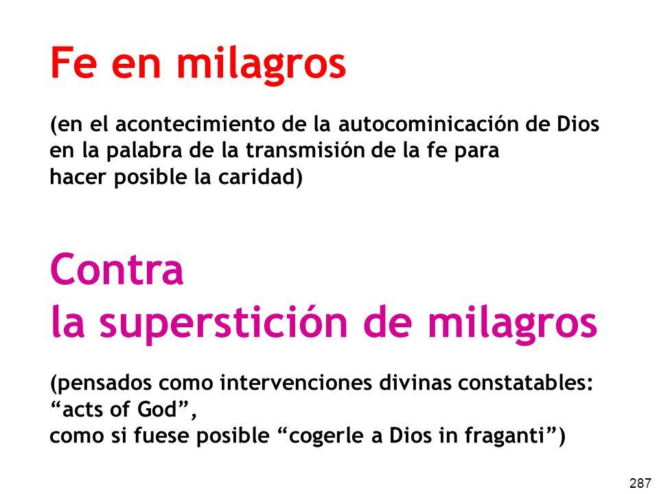 287 Fe en milagros (en el acontecimiento de la autocominicación de Dios en la palabra de la transmisión de la fe para hacer posible la caridad) Contra