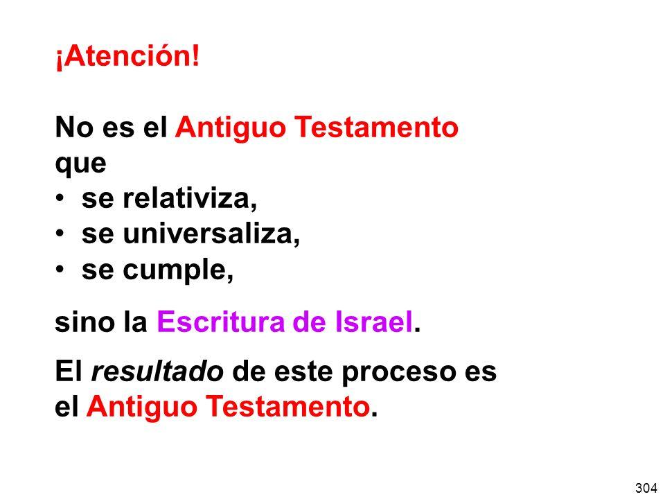 304 ¡Atención! No es el Antiguo Testamento que se relativiza, se universaliza, se cumple, sino la Escritura de Israel. El resultado de este proceso es