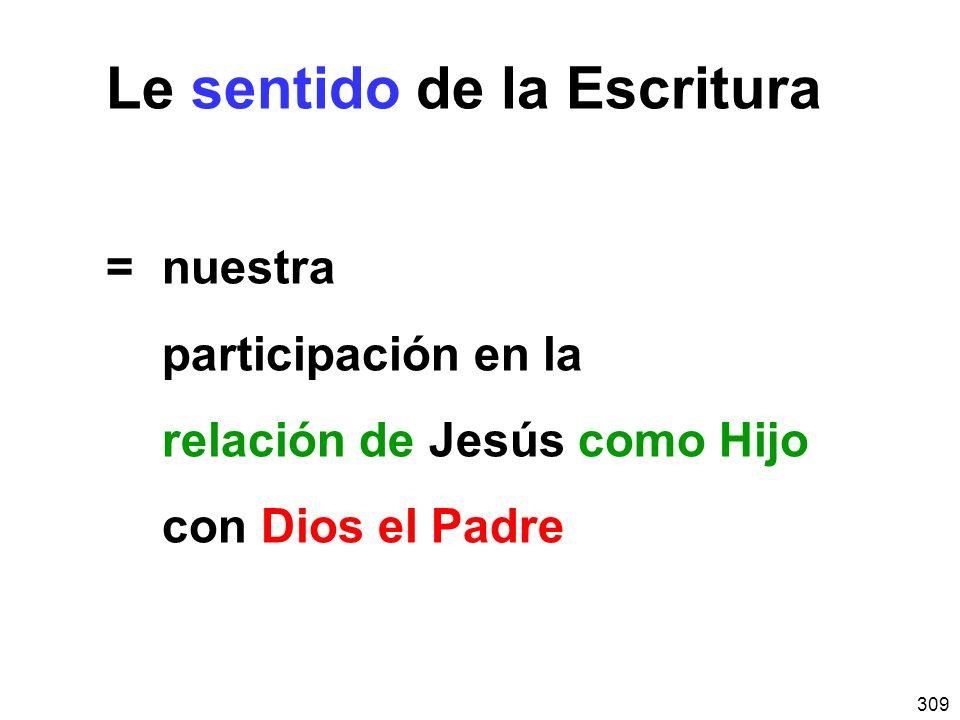 309 Le sentido de la Escritura =nuestra participación en la relación de Jesús como Hijo con Dios el Padre